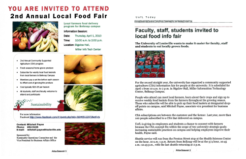 University of Louisville - 2nd Annual Community Supported Agriculture (CSA) Fair